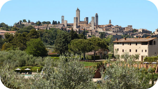 The towers of San Gimignano as seen from Abbazia Monte Oliveto.