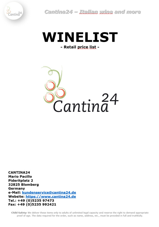 The Cantina24 price list for download.